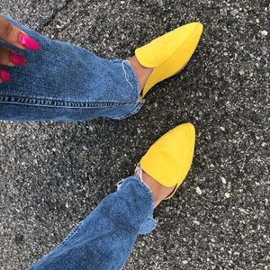Shoes - Womens Yellow Slide In Pointy Mules Loafers